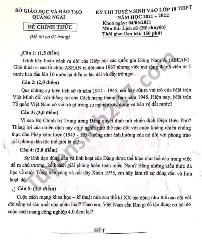 De thi vao lop 10 tinh Quang Ngai mon Su Chuyen 2021