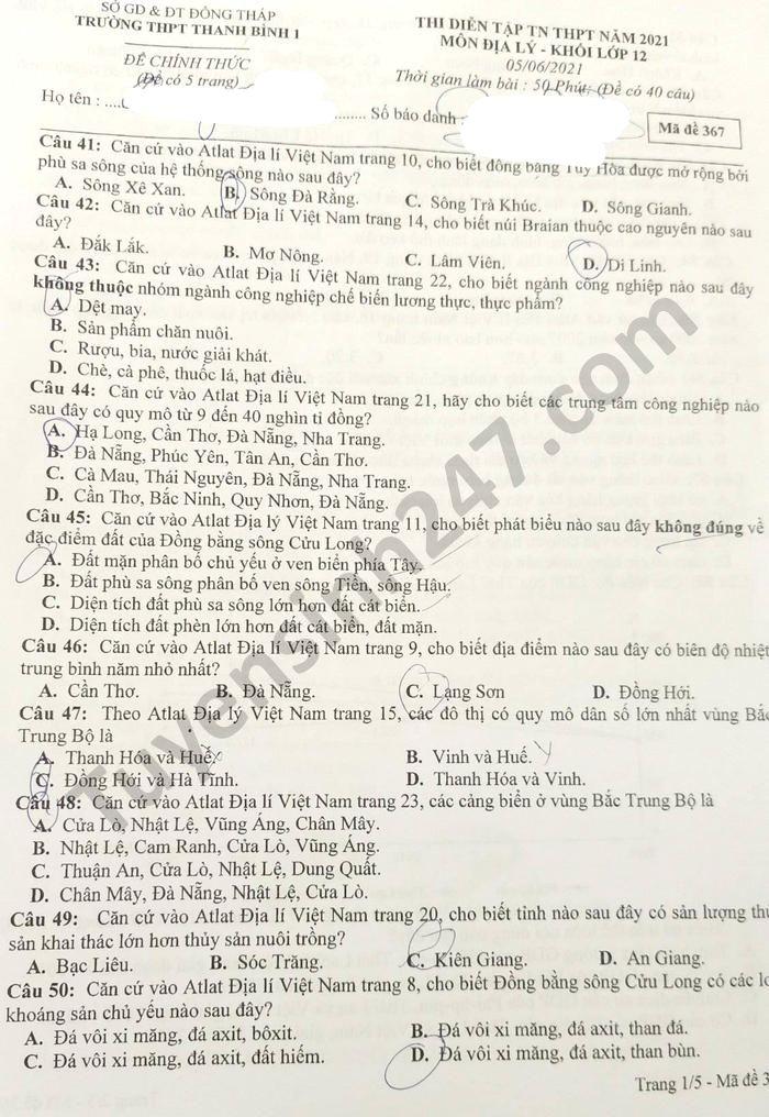 De thi thu tot nghiep THPT nam 2021 THPT Thanh Binh 1 mon Dia