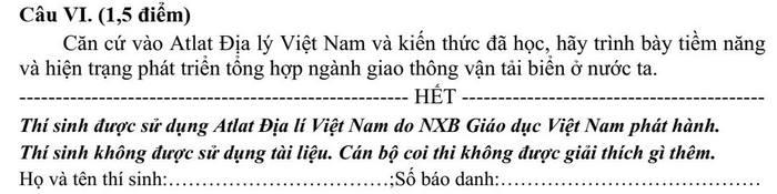 De thi vao lop 10 mon Dia Chuyen - tinh Tien Giang 2021
