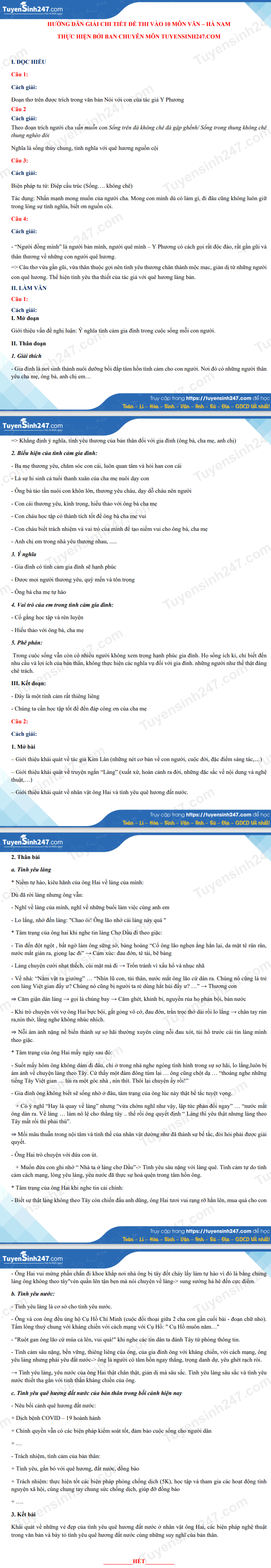 Dap an de thi vao lop 10 THPT Chuyen - mon Van (chung) tinh Ha Nam 2021