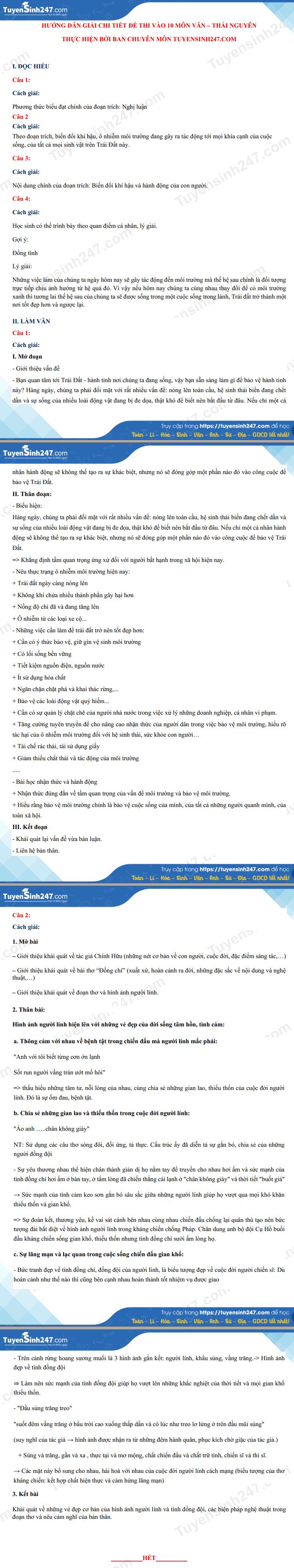 Dap an de thi vao lop 10 tinh Thai Nguyen mon Van nam 2021