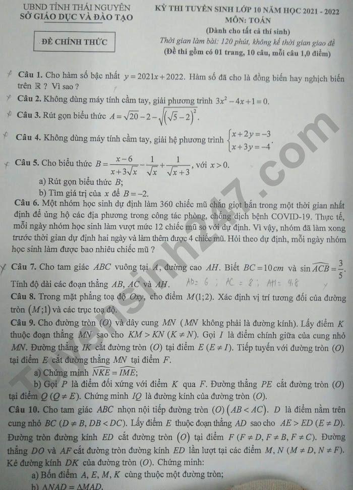 Dap an de thi vao lop 10 nam 2021 tinh Thai Nguyen mon Toan