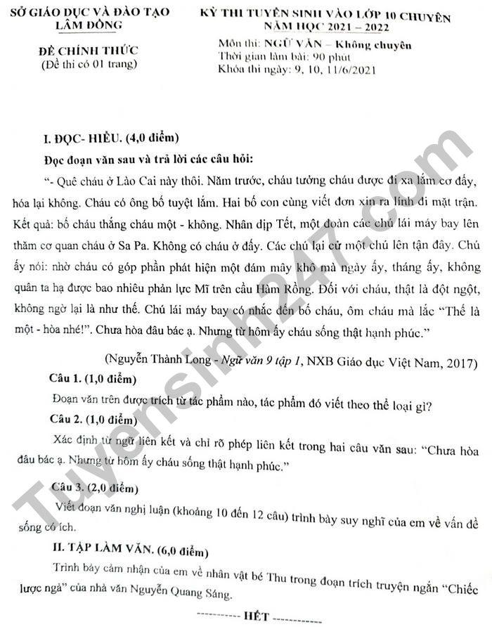 Dap an de thi vao lop 10 Chuyen tinh Lam Dong - mon Van (chung) 2021