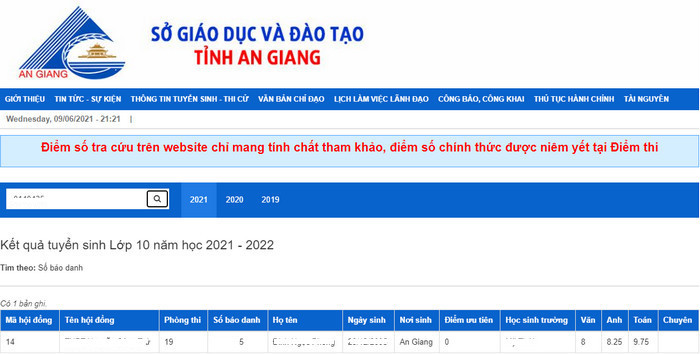Da co diem thi vao lop 10 tinh An Giang nam 2021