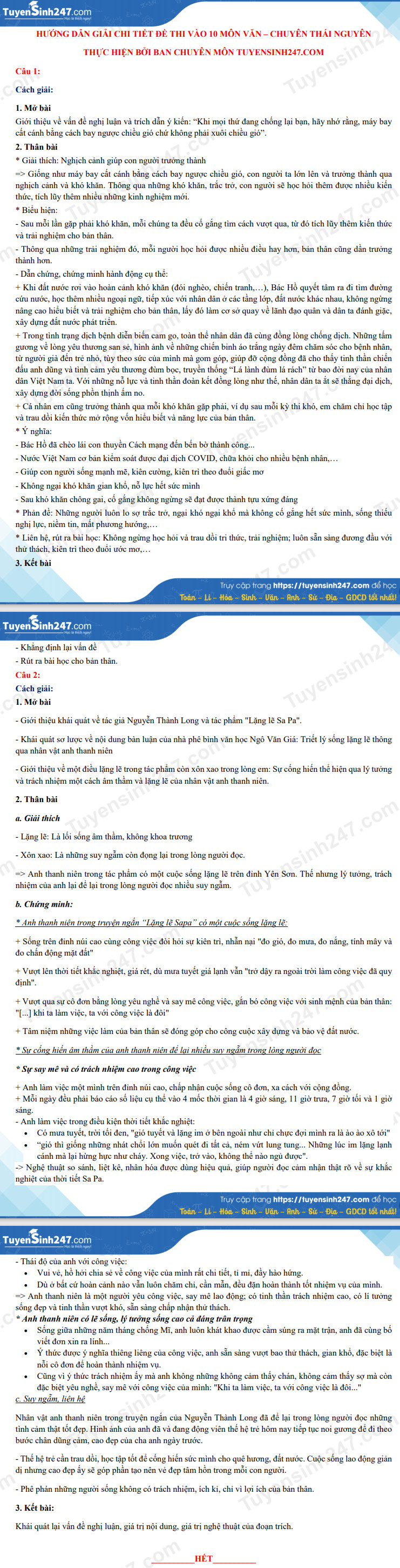 Dap an de thi vao lop 10 mon Van chuyen - Thai Nguyen 2021