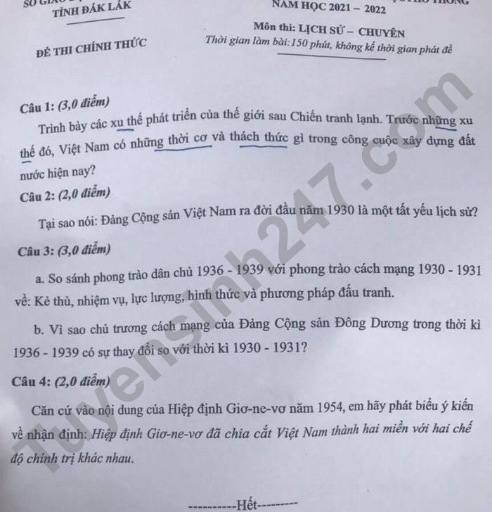 De thi vao lop 10 mon Su Chuyen - Dak Lak nam 2021