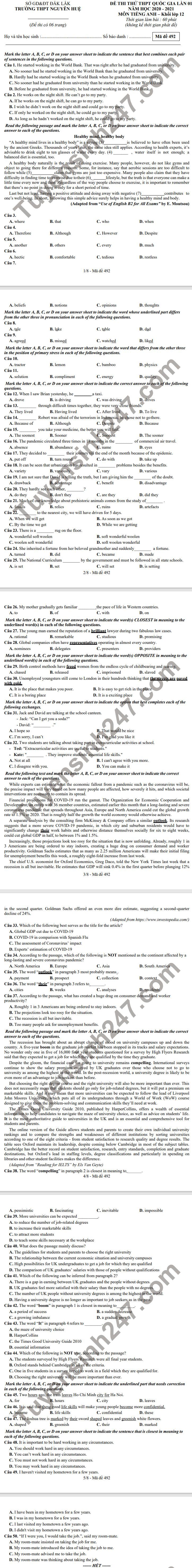 De thi thu tot nghiep THPT 2021 lan 1 mon Anh - THPT Nguyen Hue (Co dap an)