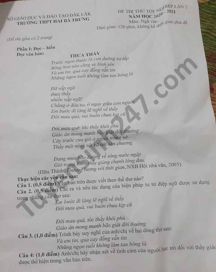 De thi thu tot nghiep THPT mon Van nam 2021 lan 2 THPT Hai Ba Trung