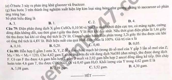 De KSCL ket hop thi thu tot nghiep THPT 2021 dot 2 mon Hoa tinh Nghe An