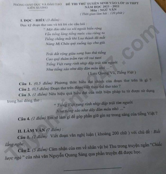 De thi thu vao lop 10 nam 2021 Phong GD Kien Xuong mon Van
