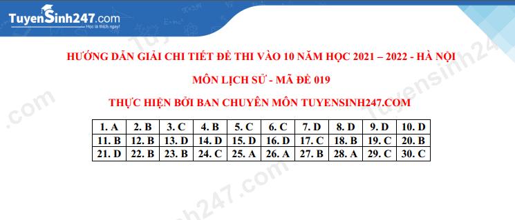 Dap an de thi mon Su vao lop 10 Ha Noi nam 2021
