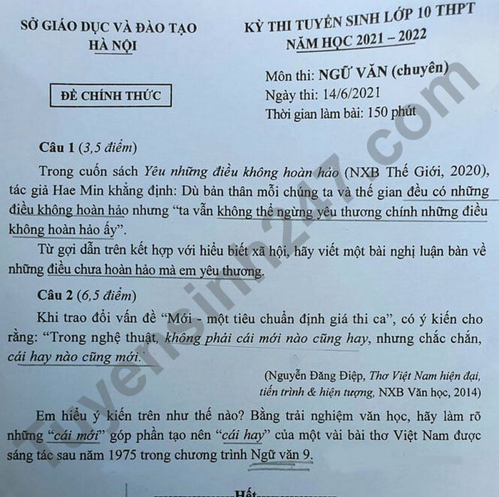 Dap an de thi vao lop 10 Ha Noi mon Van chuyen 2021