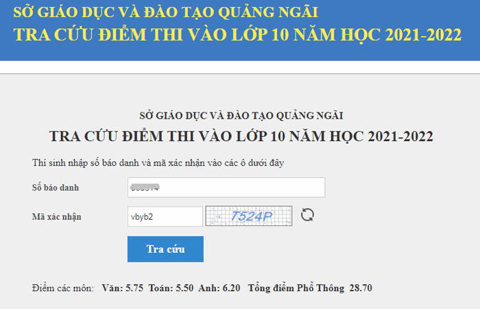Tra cuu diem thi vao lop 10 tinh Quang Ngai nam 2021