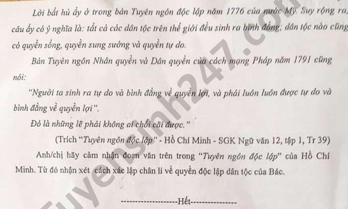 De thi thu tot nghiep THPT 2021 mon Van THPT DTNT tinh Lao Cai