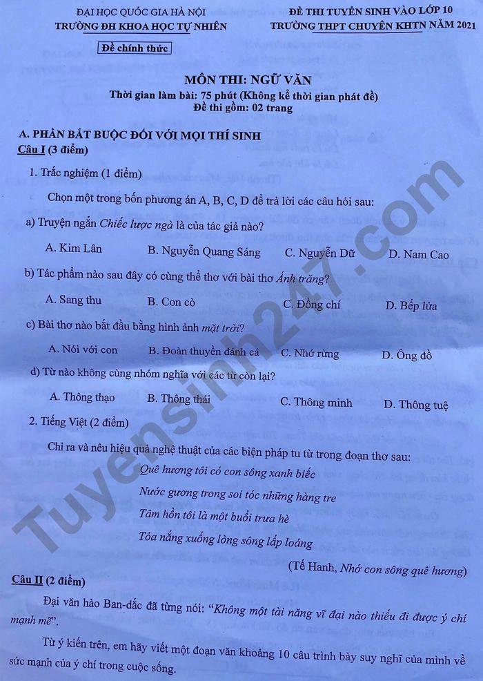 Dap an de thi vao lop 10 THPT chuyen KHTN - mon Van chung 2021