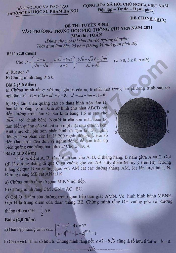 Dap an de thi vao lop 10 Chuyen Su pham mon Toan (chung) 2021