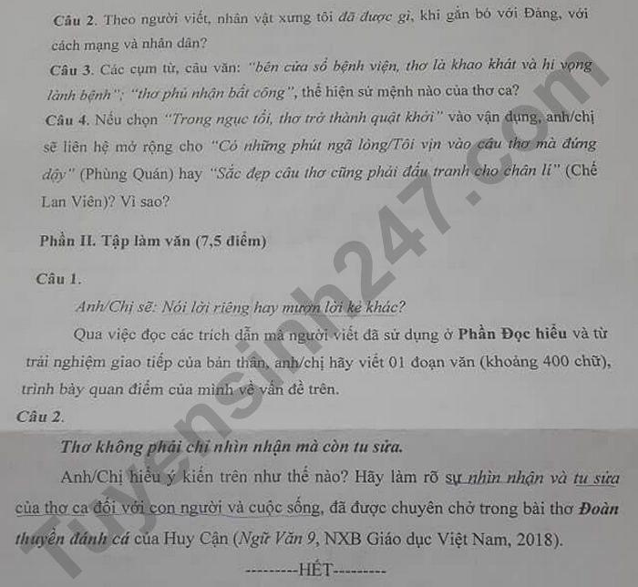 Dap an de thi vao lop 10 mon Van chuyen - tinh Nam Dinh 2021