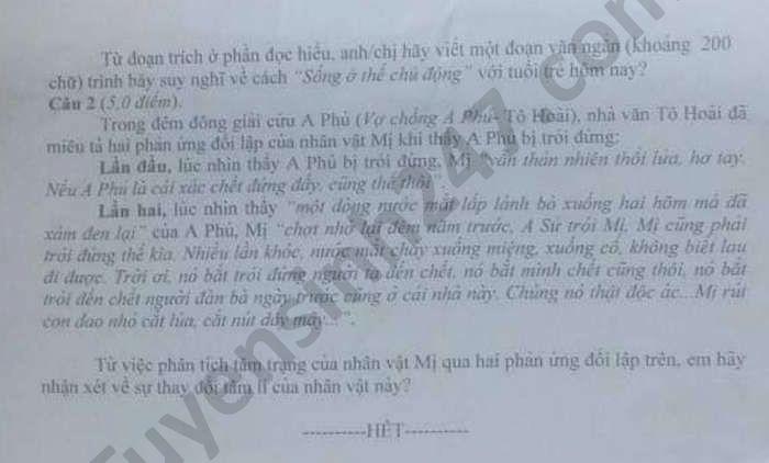 De thi thu tot nghiep THPT 2021 mon Van truong CD Co Khi Nong Nghiep