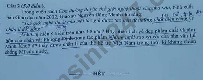 De thi vao lop 10 nam 2021 tinh Hung Yen mon Van chuyen