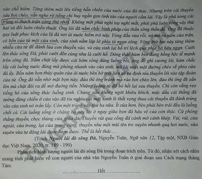 De thi thu tot nghiep THPT 2021 mon Van cum truong Ninh Binh - Tam Diep