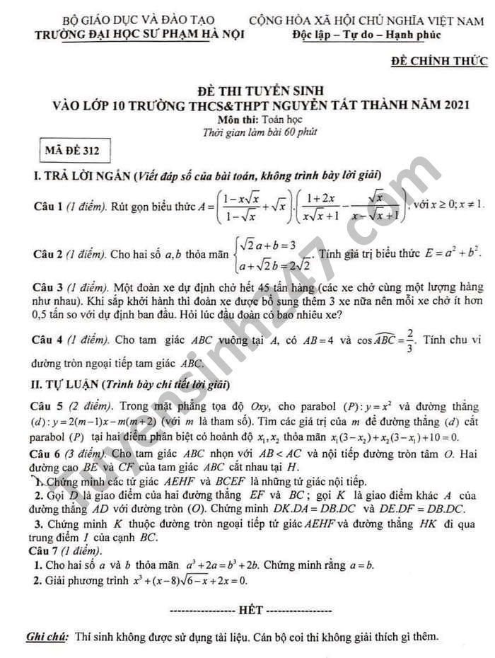 De thi vao lop 10 THCS-THPT Nguyen Tat Thanh nam 2021 mon Toan