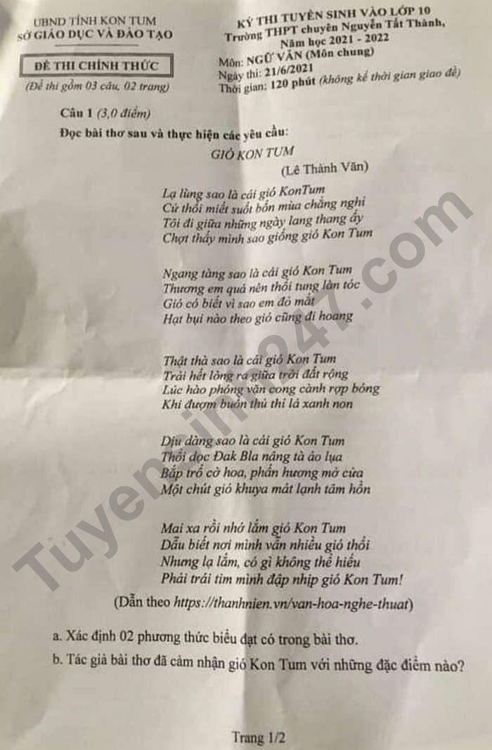 Dap an de thi vao lop 10 chuyen - tinh Kon Tum mon Van (chung) 2021
