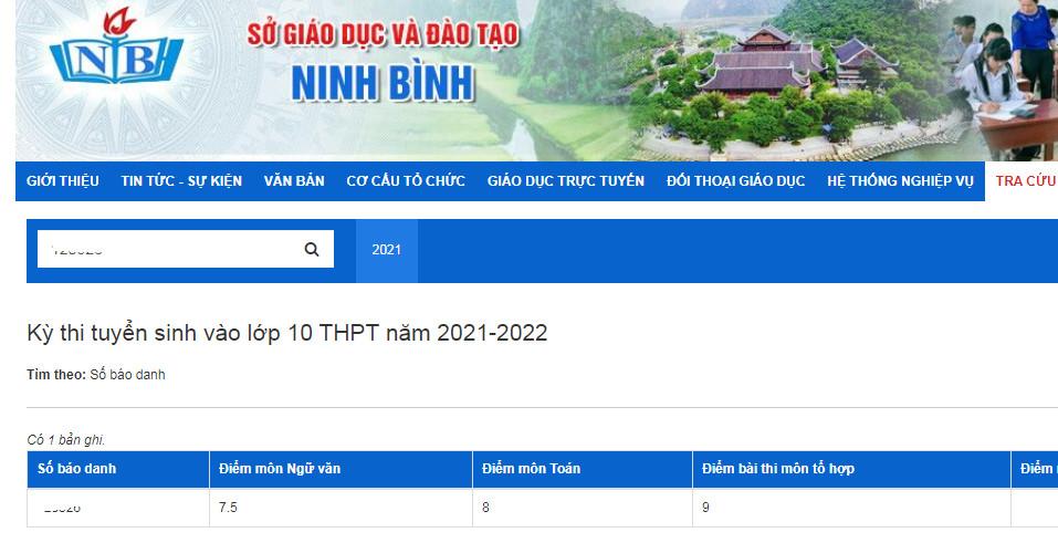 Da co diem thi vao lop 10 Ninh Binh 2021