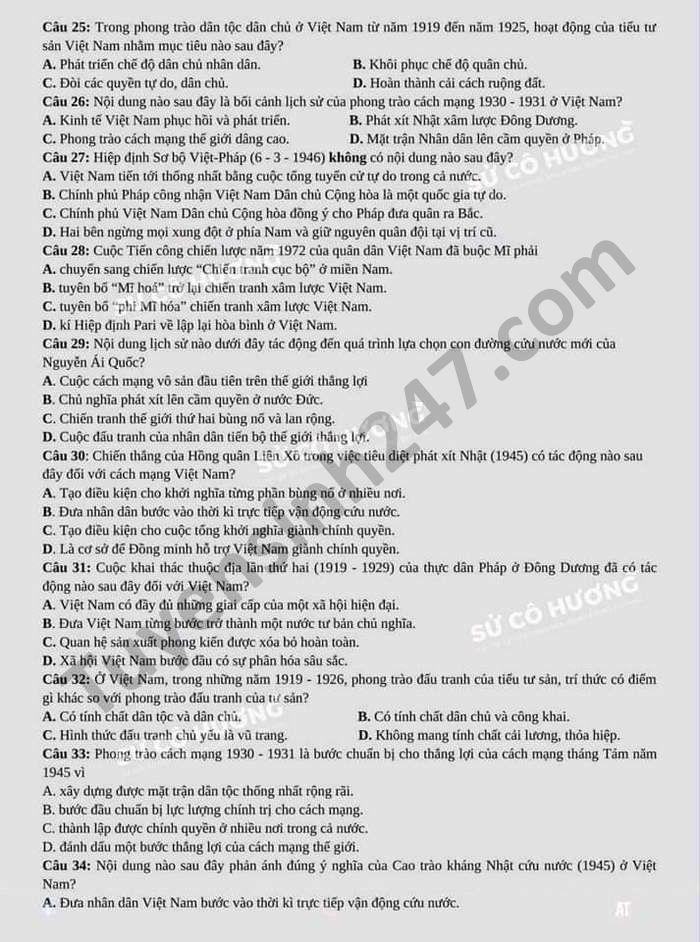 De thi thu tot nghiep THPT nam 2021 mon Su tinh Ha Tinh