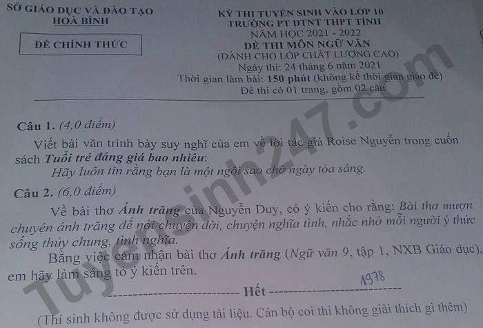 De thi vao lop 10 nam 2021 tinh Hoa Binh mon Van (lop CLC)