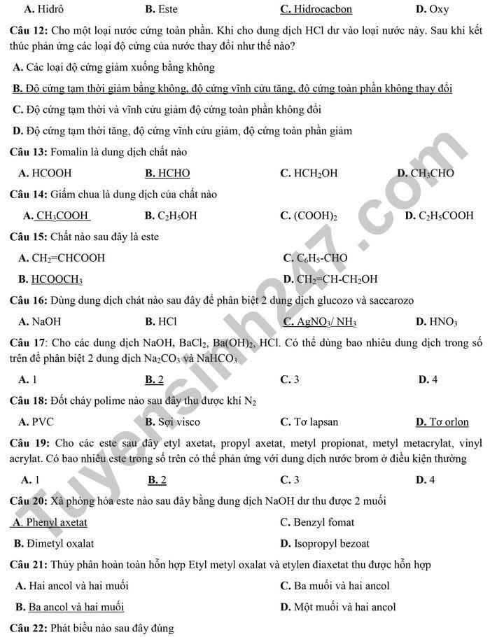 De thi thu mon Hoa tot nghiep THPT 2021 - THPT Dao Duy Tu lan 6