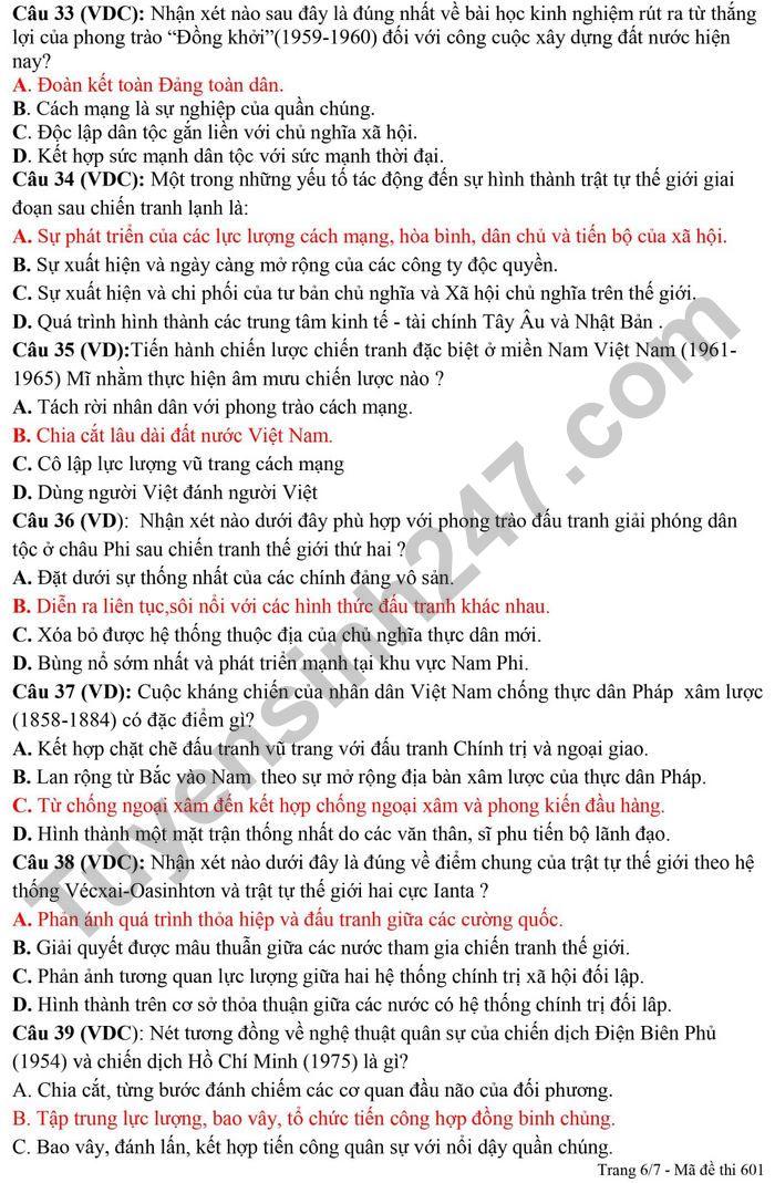 De thi thu tot nghiep THPT 2021 lan 6 mon Su - THPT Dao Duy Tu (Co dap an)