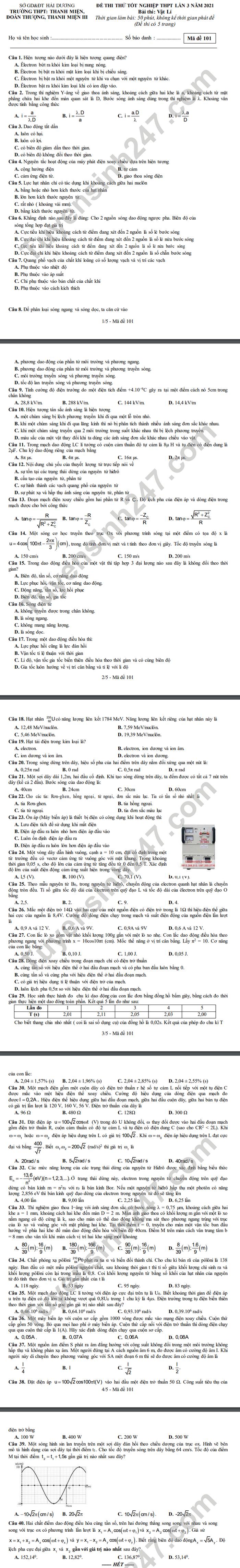 De thi thu tot nghiep THPT 2021 lan 3 mon Ly THPT Thanh Mien-Doan Thuong