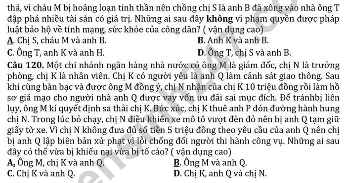 De thi thu mon GDCD tot nghiep THPT 2021 - THPT Dao Duy Tu lan 5