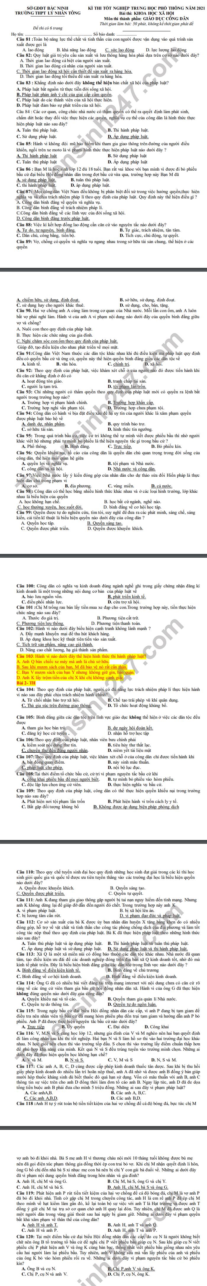 De thi thu tot nghiep THPT 2021 THPT Ly Nhan Tong mon GDCD-co dap an