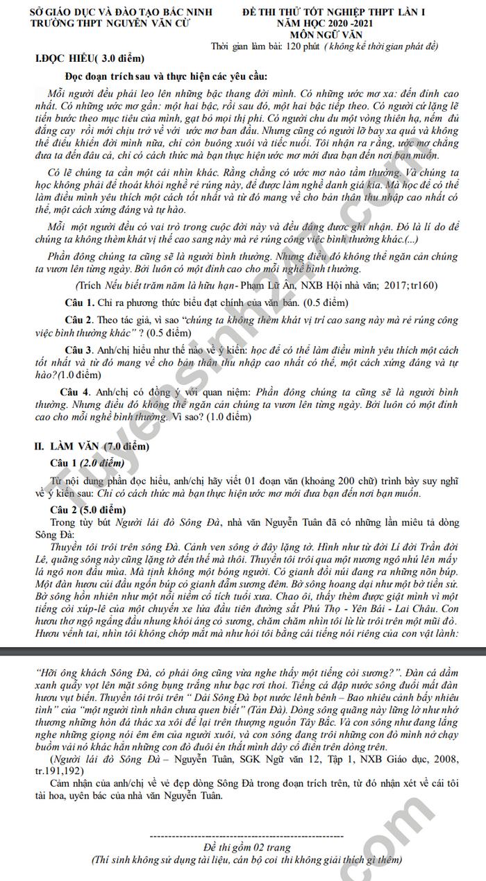 De thi thu tot nghiep THPT 2021 mon Van THPT Nguyen Van Cu