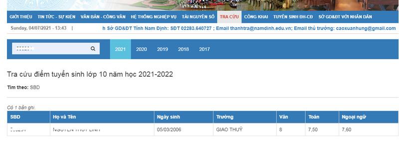 Da co diem thi vao lop 10 Nam Dinh nam 2021