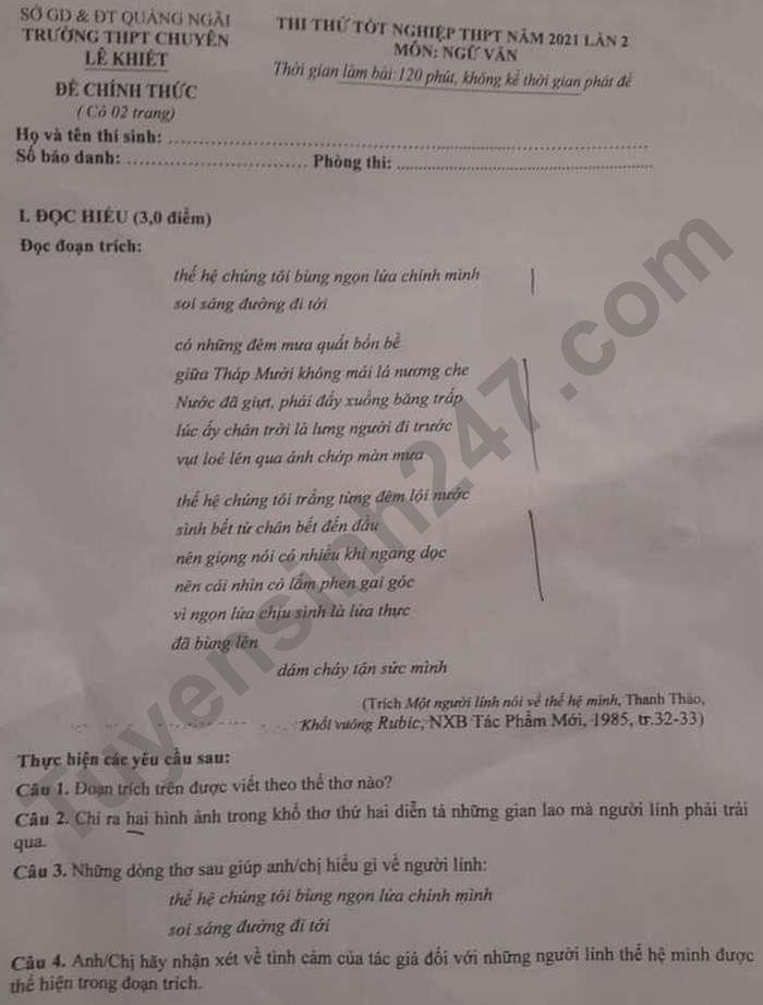 De thi thu tot nghiep THPT 2021 mon Van - THPT Chuyen Le Khiet lan 2