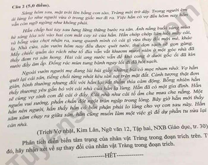 De thi thu mon Van tot nghiep THPT 2021 - THPT Nho Quan A