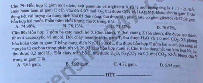 Dap an de thi tot nghiep THPT mon Hoa - Ma de 206 nam 2021