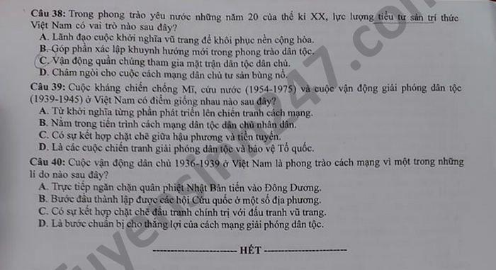 Dap an de thi tot nghiep THPT mon Su - Ma de 309 nam 2021