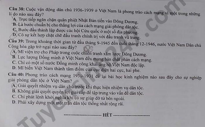 Dap an de thi tot nghiep THPT mon Su - Ma de 323 nam 2021