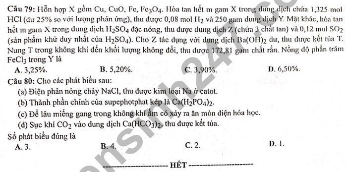 Dap an de thi tot nghiep THPT mon Hoa 2021 - Ma de 201