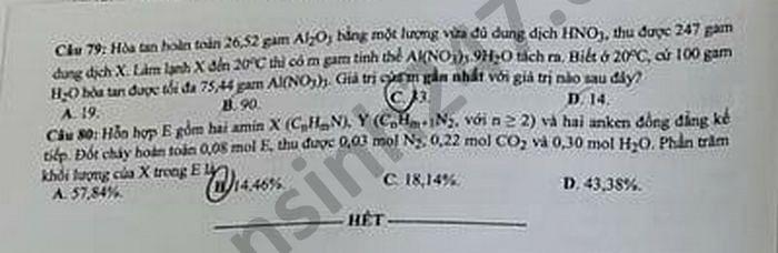 Dap an de thi mon Hoa - Ma de 209 tot nghiep THPT 2021