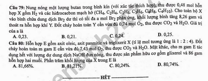 Dap an de thi tot nghiep THPT mon Hoa - Ma de 216 nam 2021