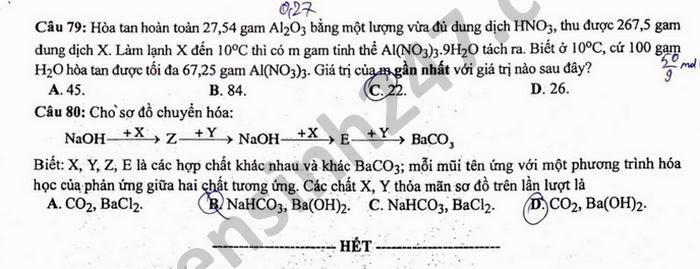 Dap an de thi tot nghiep THPT 2021 mon Hoa - Ma de 220
