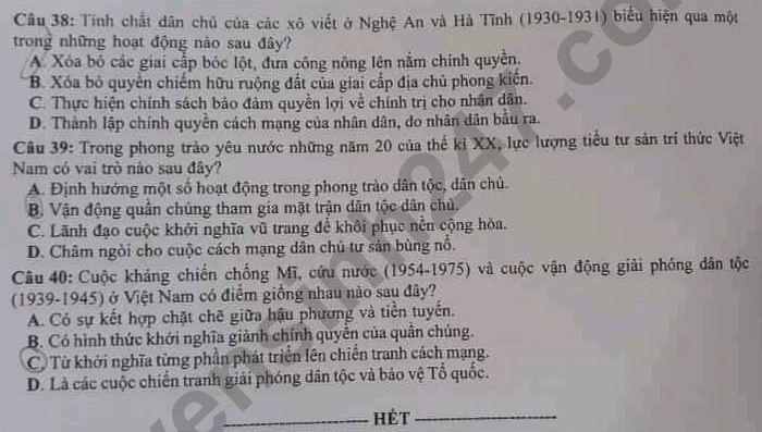 Dap an de thi mon Su - Ma de 322 tot nghiep THPT 2021