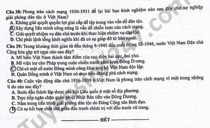 Dap an de thi mon Su tot nghiep THPT 2021 - Ma de 302