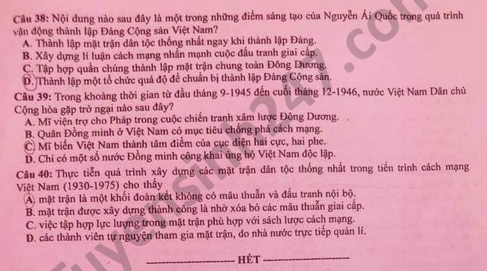Dap an mon Su - Ma de 318 thi tot nghiep THPT 2021