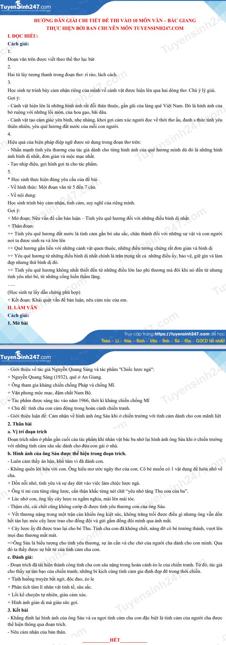 Dap an de thi vao lop 10 mon Van - tinh Bac Giang nam 2021