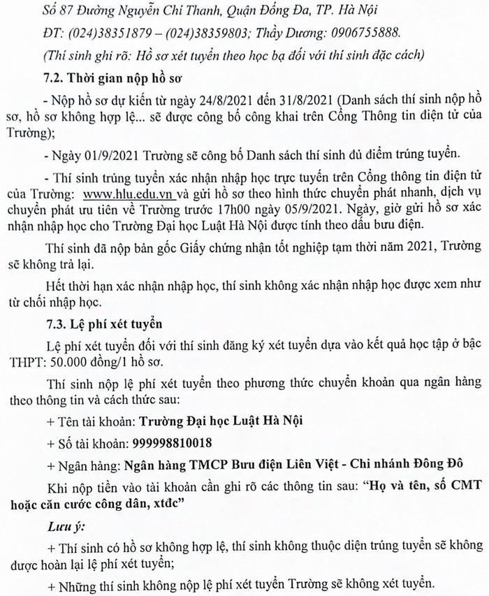 Dai hoc Luat Ha Noi tuyen thi sinh dac cach tot nghiep